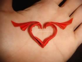 带翅膀的爱心怎么折 翅膀爱心的折法图解