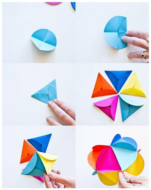 花折纸步骤图_简单花球的折法步骤图 折纸花球图解教程_爱折纸网