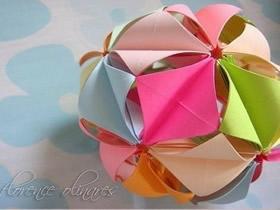 创意折纸花球作品欣赏 美丽立体纸花球图片
