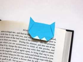 猫咪书签的折法图解 手工折纸猫咪书签教程