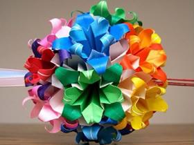 创意折纸花球作品 好看的纸花球图片欣赏