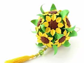 手工折纸花球作品图片