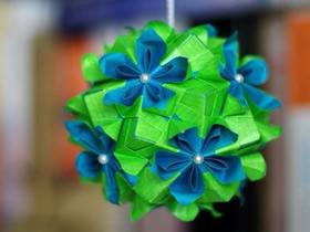 创意折纸花球图片 美丽的纸花球作品
