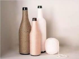 红酒瓶花瓶手工制作 毛线绕线DIY玻璃瓶花瓶