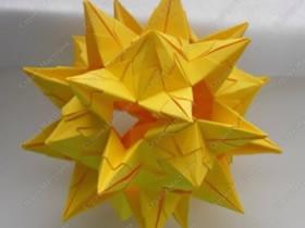 有难度纸花球的折法 复杂花球折纸图解