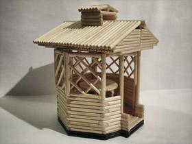 小木棍凉亭手工制作 精致小亭子用木棍做教程