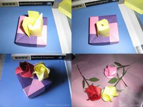 折纸玫瑰花步骤图解 情人节纸玫瑰花的折法