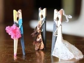 木夹子手工创意 制作出跳舞的新郎新娘人偶