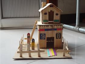 冰棍棒制作小木屋教程 儿童玩具房子手工制作