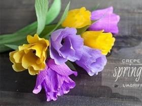 如何制作皱纹纸郁金香 皱纹纸做郁金香花的方法