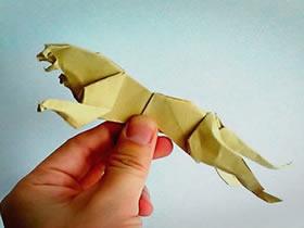 如何折纸猎豹的步骤 手工猎豹的折法图解