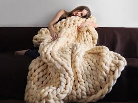 粗毛线编织毯子图片 创意毯子DIY作品欣赏