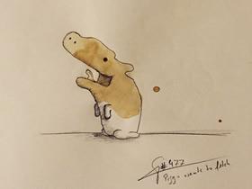 咖啡污渍画画作品 创意污渍画图片欣赏