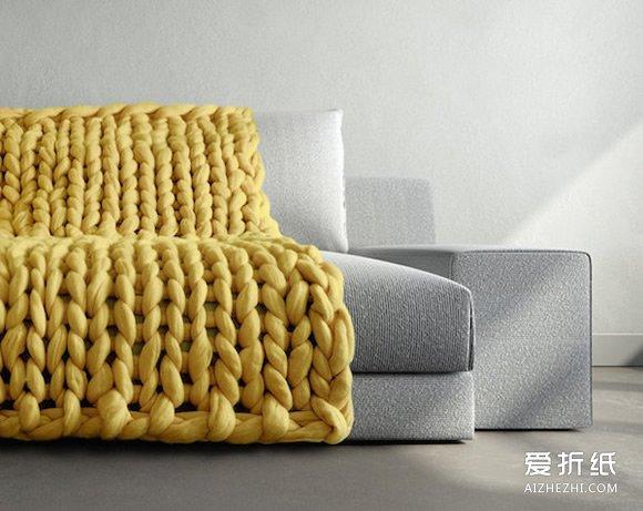 粗毛线编织毯子图片 创意毯子DIY作品欣赏- www.aizhezhi.com