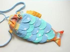 不织布鲤鱼包制作教程 手工布艺束口鲤鱼包包