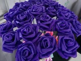 怎么用皱纹纸折玫瑰花 简单紫玫瑰的折法图解