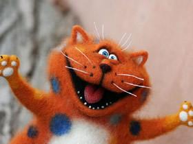 逗逼的猫羊毛毡图片 手工制作丑萌猫作品