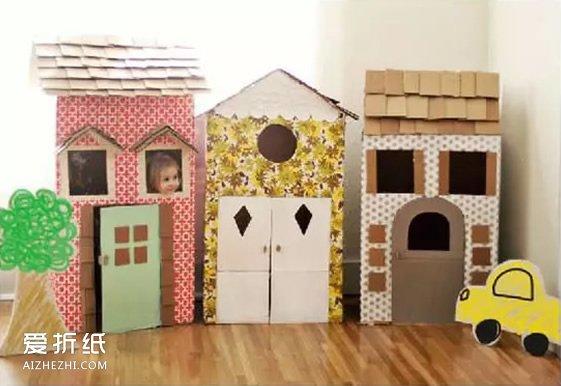 怎么用纸箱做房子的步骤 手工制作纸箱房子图片_爱折纸网