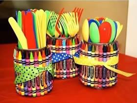 罐头废物利用做收纳罐 幼儿手工制作收纳罐
