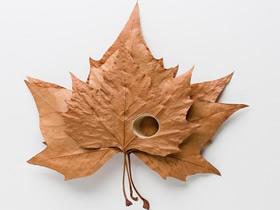 创意树叶针线作品 树叶手工艺品DIY图片