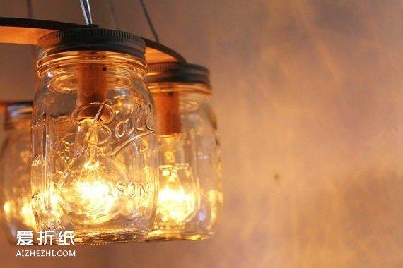 玻璃瓶做灯罩的漂亮图片 手工diy玻璃瓶灯罩 爱折纸网