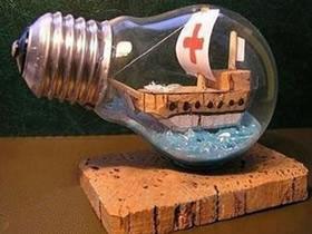 灯泡装饰品怎么做教程 灯泡手工制作漂流瓶摆件