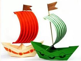 怎样折纸船做成帆船 简单小船的折法图解