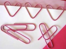 用回形针做书签的方法 创意曲别针爱心书签制作