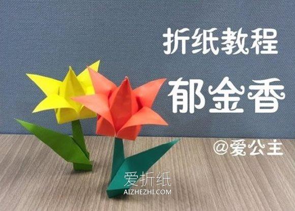 怎么折纸郁金香花图解 简单立体郁金香的折法- www.aizhezhi.com