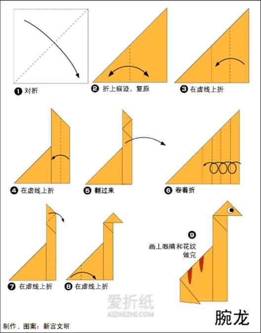 三角折纸笔筒_怎么折纸恐龙的教程 9种简单恐龙的折法图解_爱折纸网