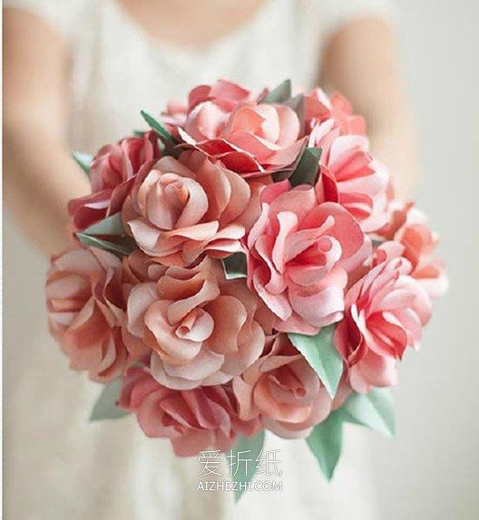 怎么包花束_怎么做玫瑰手捧花教程 手工制作玫瑰捧花图解_爱折纸网