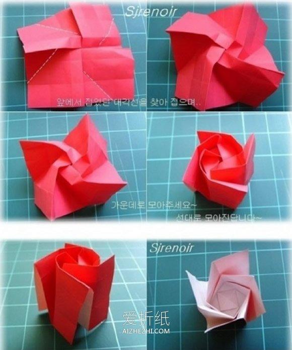 怎样用纸做玫瑰花_怎么折玫瑰花图解步骤 手工折纸玫瑰花的做法_爱折纸网