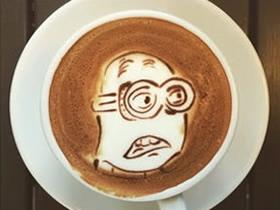 卡通图案咖啡拉花作品 咖啡拉花卡通人物图片