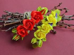 怎么制作粘土玫瑰发卡 超轻粘土DIY玫瑰花发卡