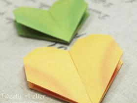 怎么折双层爱心图解 两层心形的折法步骤图