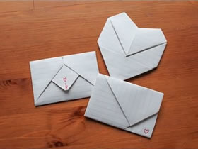 长方形折爱心的方法_怎么折纸情书信封图解 手工信封情书折叠方法_爱折纸网