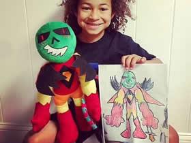 怎么做创意布偶的方法 把孩子涂鸦制作成玩具