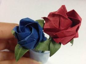 怎么折纸川崎玫瑰图解 手揉纸玫瑰花的折法