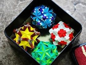 手工折纸花球作品 四个纸花球图片欣赏