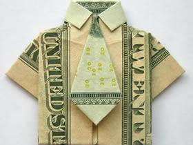 怎么折纸带领带衬衫 美元折纸衬衫图解教程
