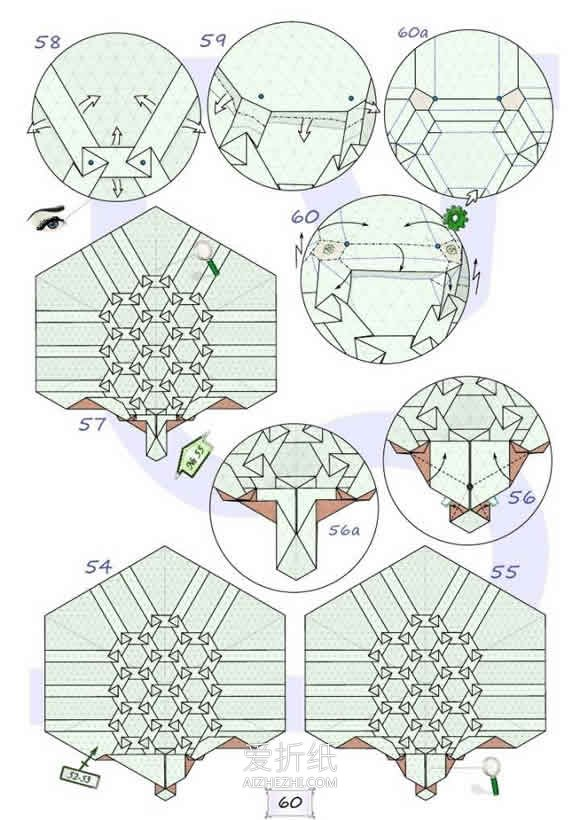 折乌龟的步骤_怎么折纸复杂的乌龟 逼真乌龟详细折法步骤_爱折纸网