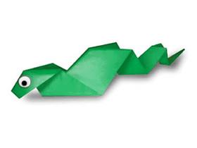 幼儿怎么折纸小蛇图解 简单手工小蛇折法教程