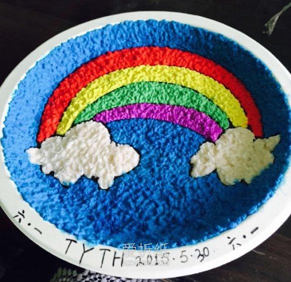 旧纸壳_怎么做彩虹餐盘画 卫生纸当颜料制作餐盘画_爱折纸网