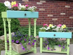 旧家具怎么做花盆图片 旧家具利用制作花盆