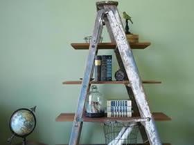 装修用梯子怎么利用 旧梯子制作收纳架方法