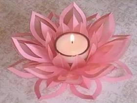 怎么剪纸莲花的方法 手工剪纸莲花烛台制作