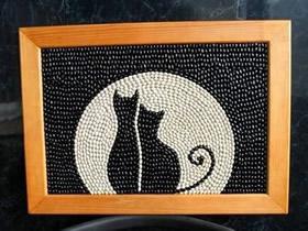 怎么做豆贴画的方法 月夜猫咪豆贴画手工制作