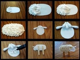 幼儿园怎么做小绵羊 棉签手工制作绵羊教程