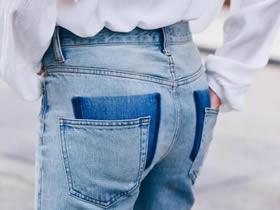 怎么改造个性牛仔裤 掉落口袋牛仔裤手工制作