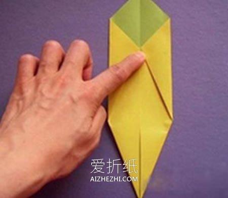 怎么折纸香蕉简单图解 幼儿手工折纸香蕉方法- www.aizhezhi.com